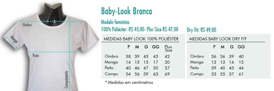 Modelo Baby-look branca em poliéster ou dry fit