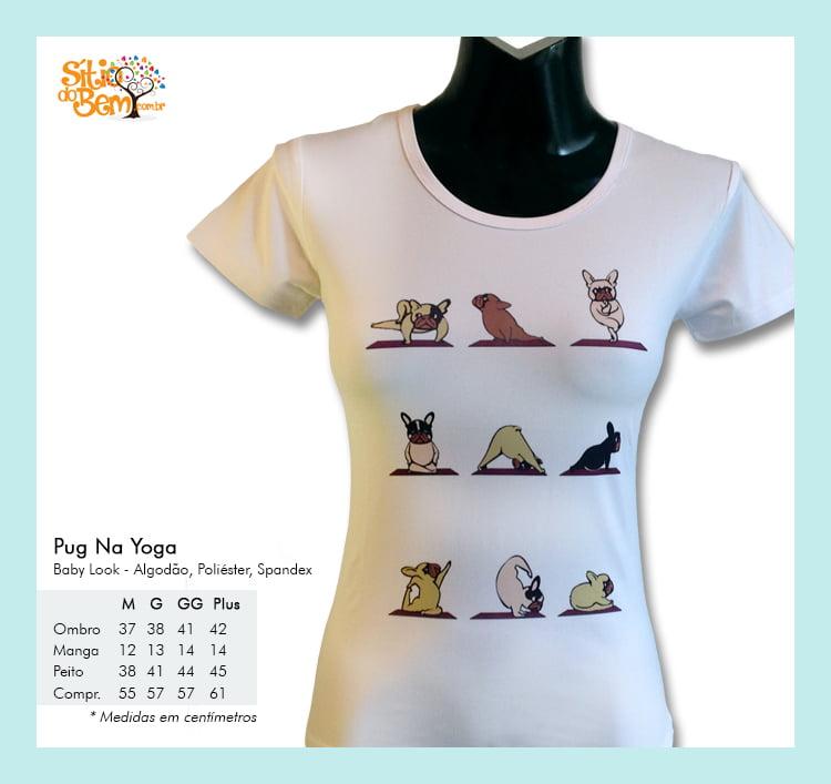 Camiseta baby-look desenho de cachorro pug na yoga