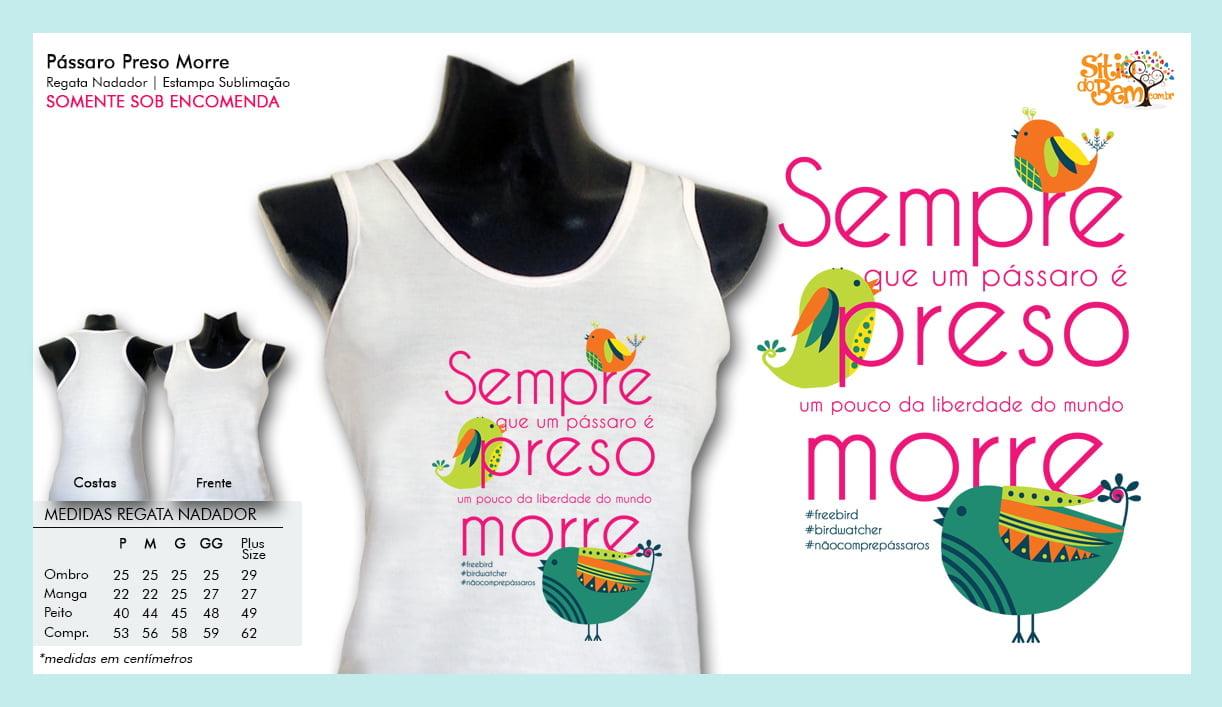 Camiseta com Desenho Pássaro Sempre Preso Morre