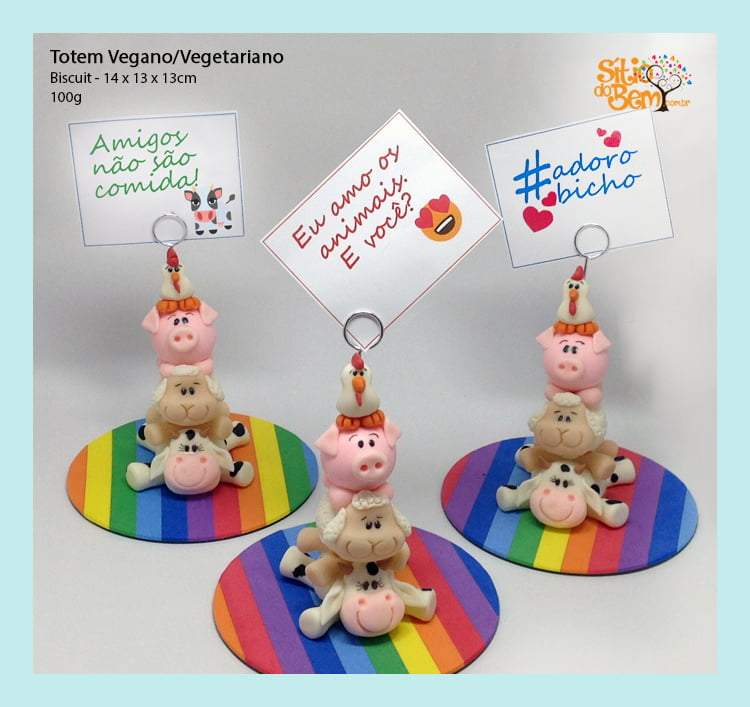 Totem Vegano/Vegetariano | Porta-Recados em Biscuit