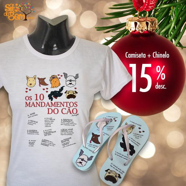 Filé de Gato | Camiseta + Chinelo 10 Mandamentos com 15% de desconto
