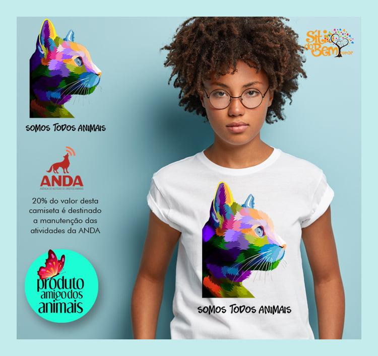 CAMISETA ANDA | SOMOS TODOS ANIMAIS | DESENHO GATO DE LADO