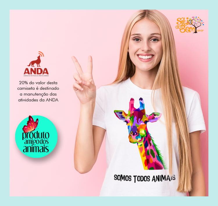 CAMISETA SOMOS TODOS ANIMAIS | DESENHO DE GIRAFA
