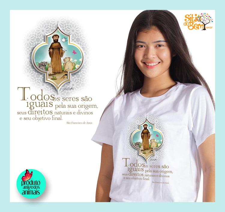 Camiseta com Desenho São Francisco de Assis | Animais Silvestres