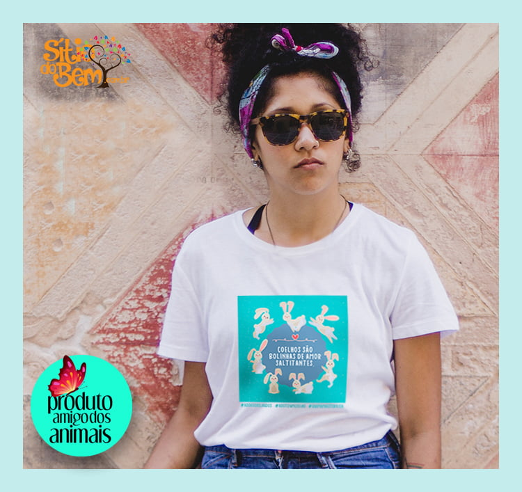 Camiseta com Desenho Coelhos São Bolinhas de Amor Saltitantes