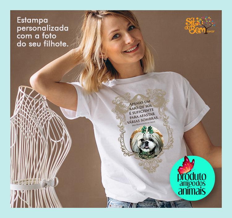 Camiseta São Francisco de Assis | Personalizada Com Seu Bicho de Estimação