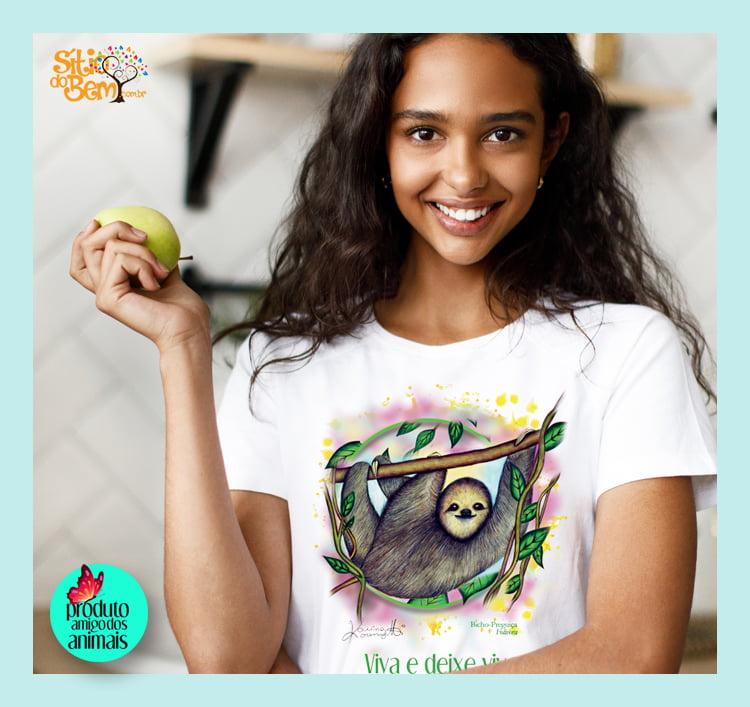 Camiseta Viva e Deixe Viver | Bicho-Preguiça