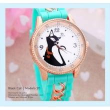 Relógio de Pulso Feminino Desenho de Gato Preto