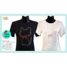 Camiseta baby-look desenho de gato dourado