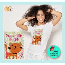 Camiseta com Desenho Sou a Mãe da Gata - Laranja