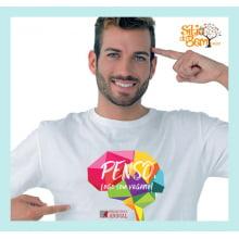 Camiseta Desenho Vegano | Penso, Logo sou Vegano Cérebro